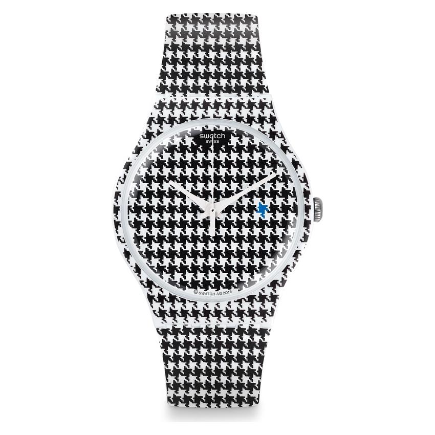 Swatch De Reloj Caso Lujo Blanco Negro Pollo Suow138 Ejecutar Mujer 41mm 8mnw0yNvO