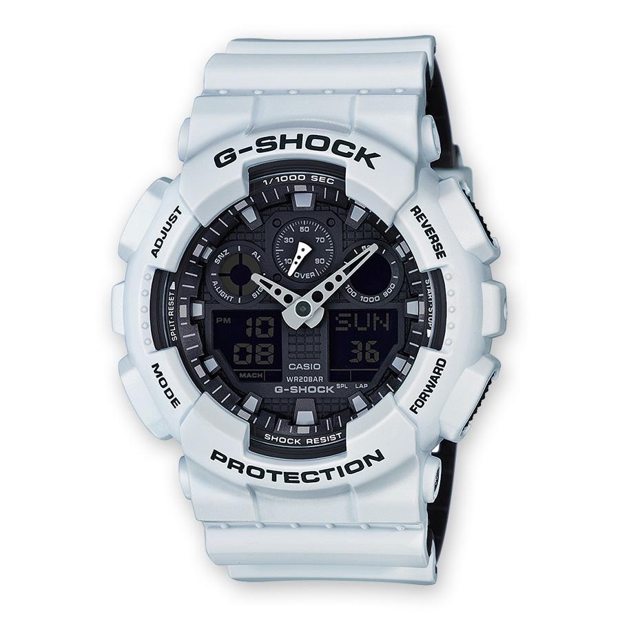 orologio 2a5fd aede6 CASIO G-shock orologio UOMO bianco calendario allarme antiurto GA-100L-7AER
