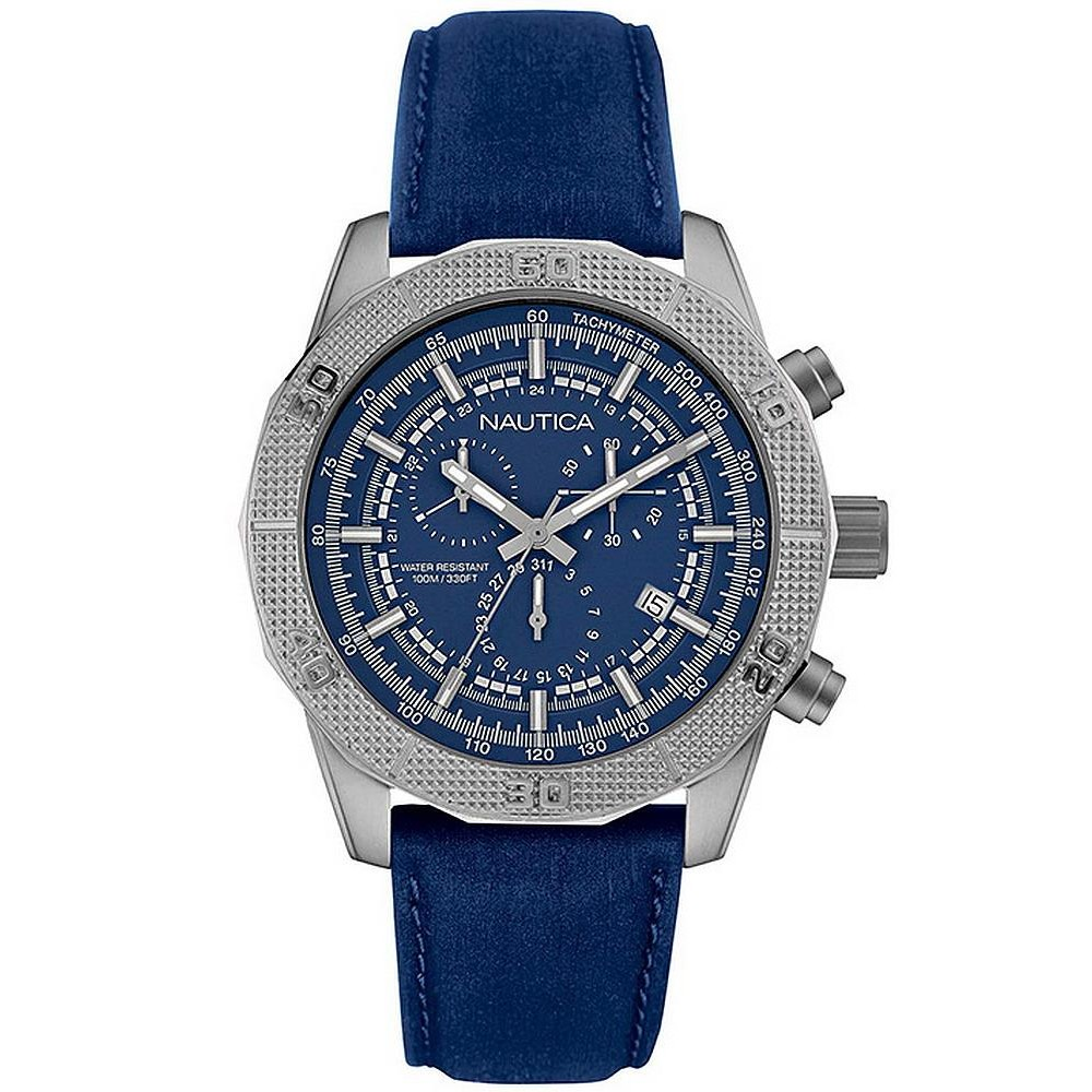 NAUTICA man Watch NST11 Leather Chronograph Flags 46mm blue NAI16526G
