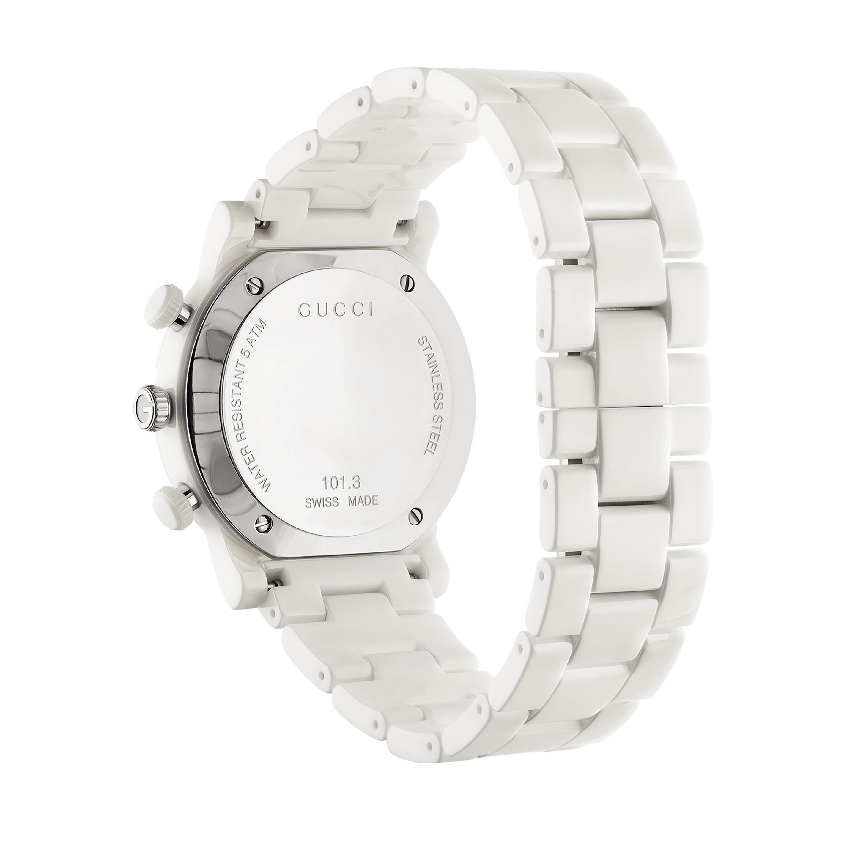 79b8f7d065b ... Man watch woman chronograph GUCCI G-CHRONO white ceramic 38mm YA101353  ...