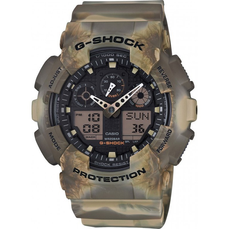 CASIO G-shock mens watch 20ATM chrono camouflage speed GA-100MM-5AER