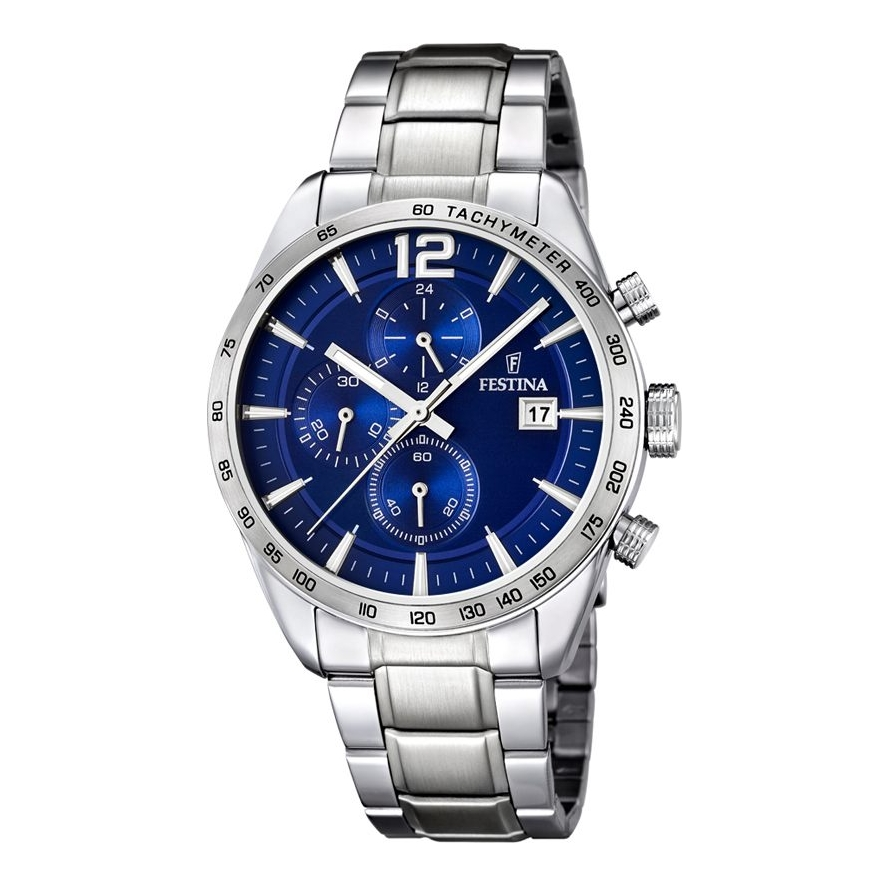 FESTINA chronograph watch man F16759/3 stainless steel blue dial 42 mm case