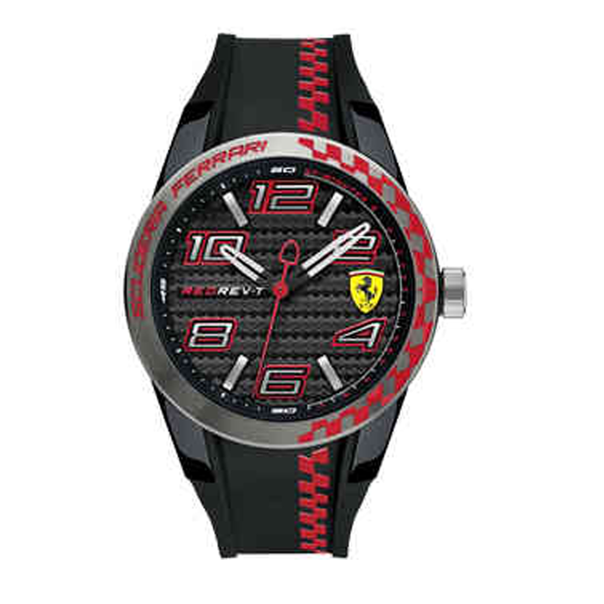 SCUDERIA FERRARI only time man watch RED REV-T chess 44mm FER0830336