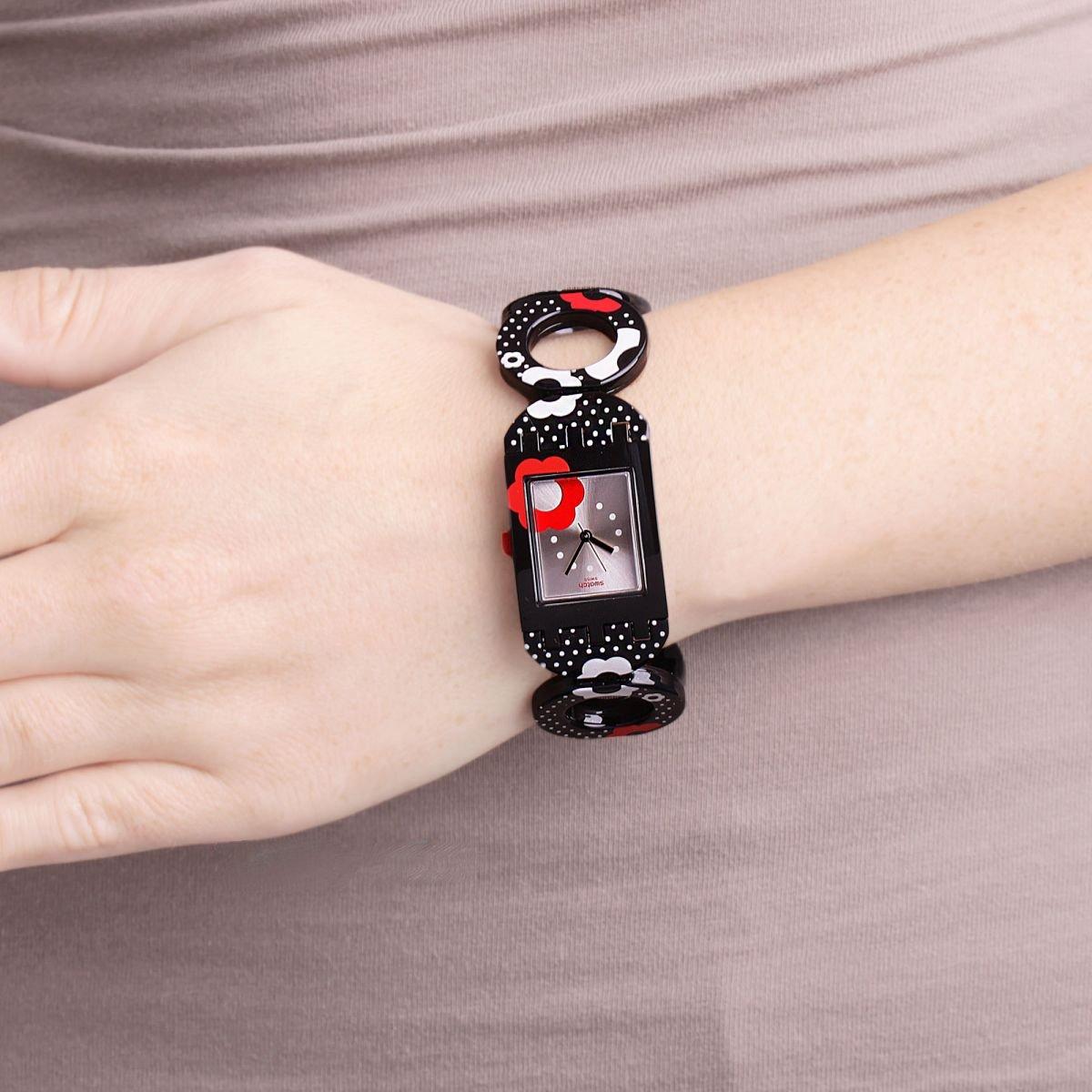 Reloj Swatch Sbracciale Efectivo 24mm Buzz Mujer Elástica 17 Subb126a Romántico wvmN8n0