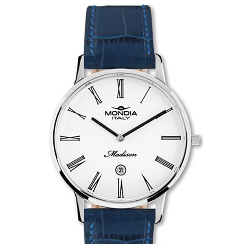 Mondia mens watch Madison blue leather 39mm Ref.ME-721-6CP