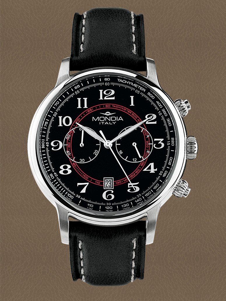 Mondia mens watch MADISON BLACK leather CHRONO 42mm Ref.MI715-7CP