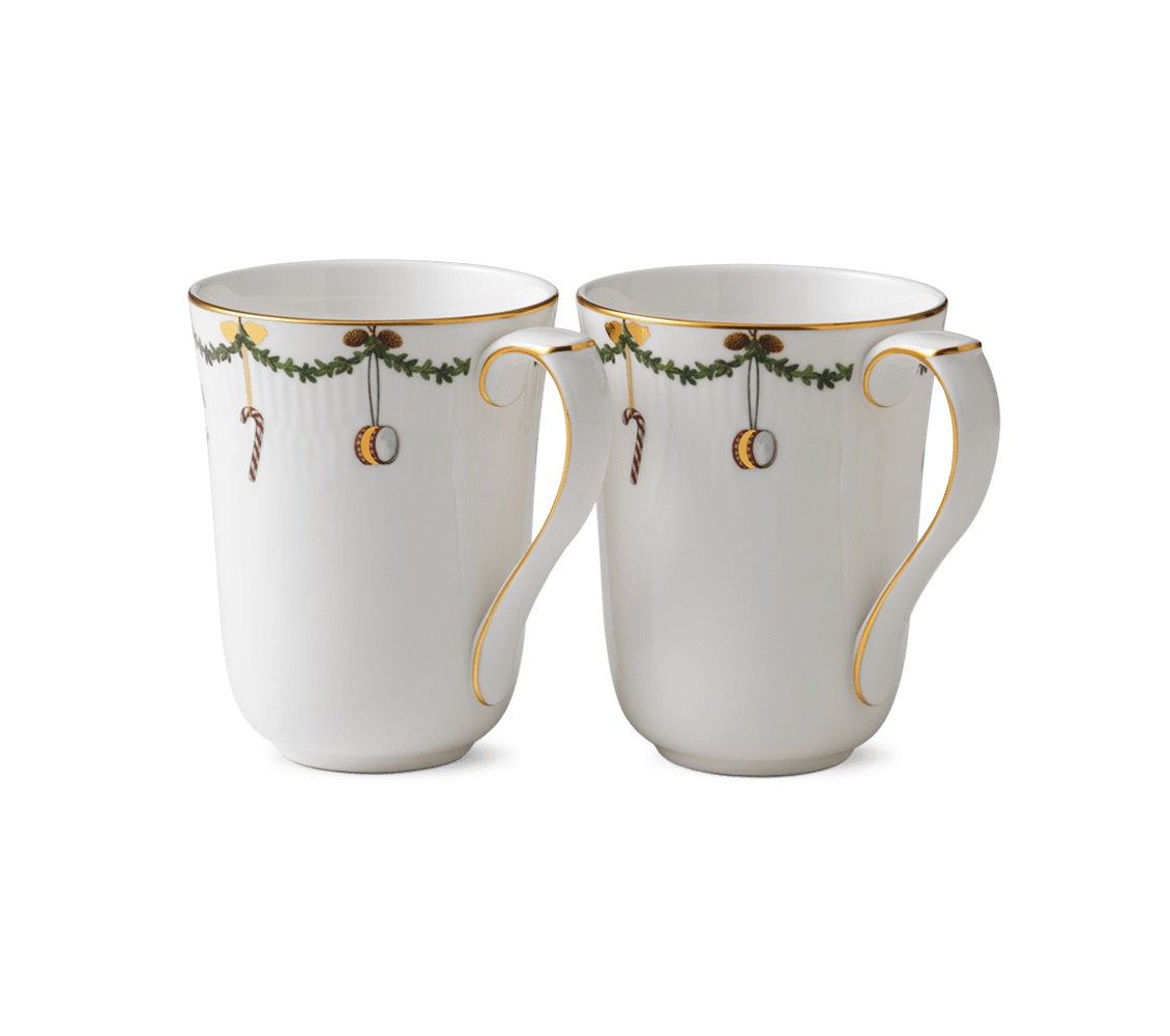 Royal Copenhagen 2 cups you milk the christmas Star Fluted Christmas 2503497
