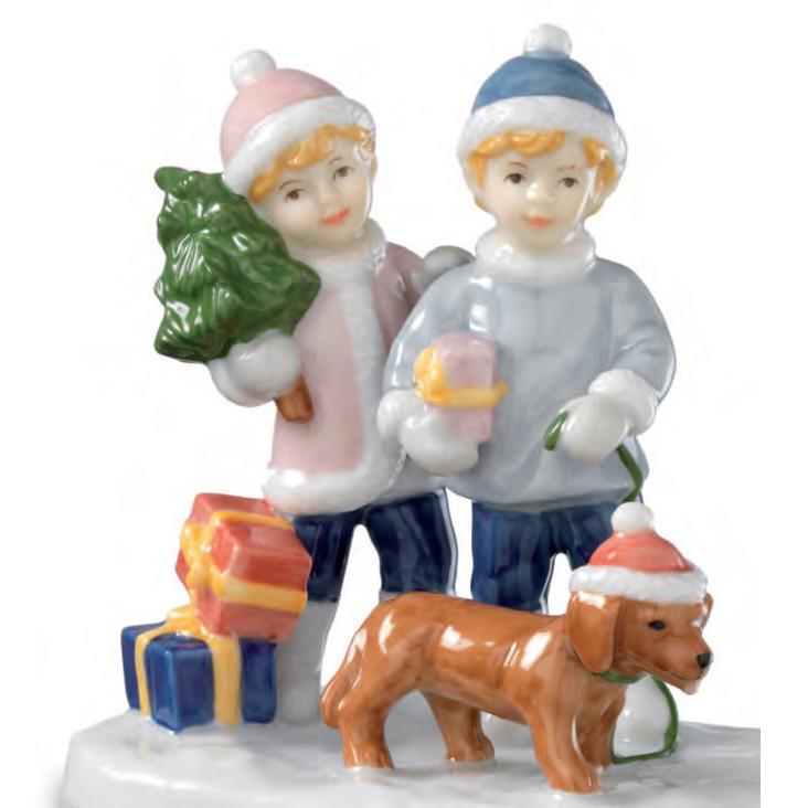 Royal Copenhagen clara and peter with puppy 10cm Figurines 5249222