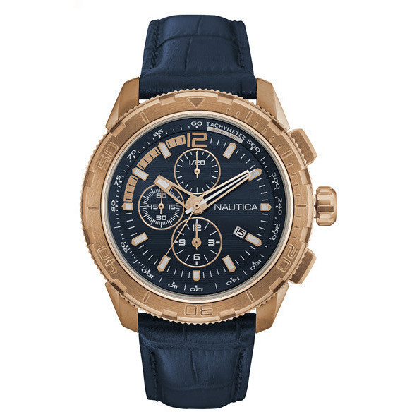 NAUTICA mens Watch chronograph gold 45mm Nst 101 NAD20512G