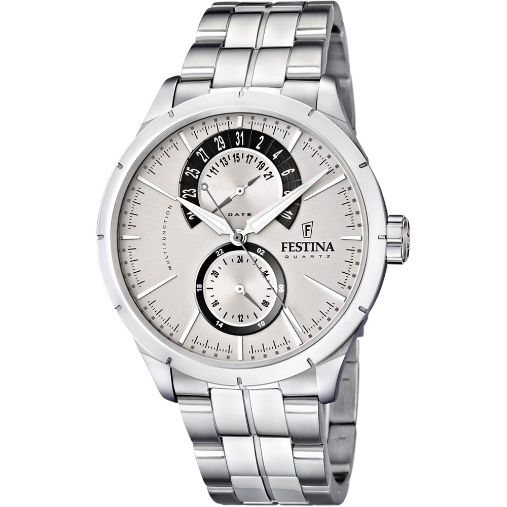 FESTINA Crongrafo mens watch multifunction stainless steel silver 44mm F16632/1