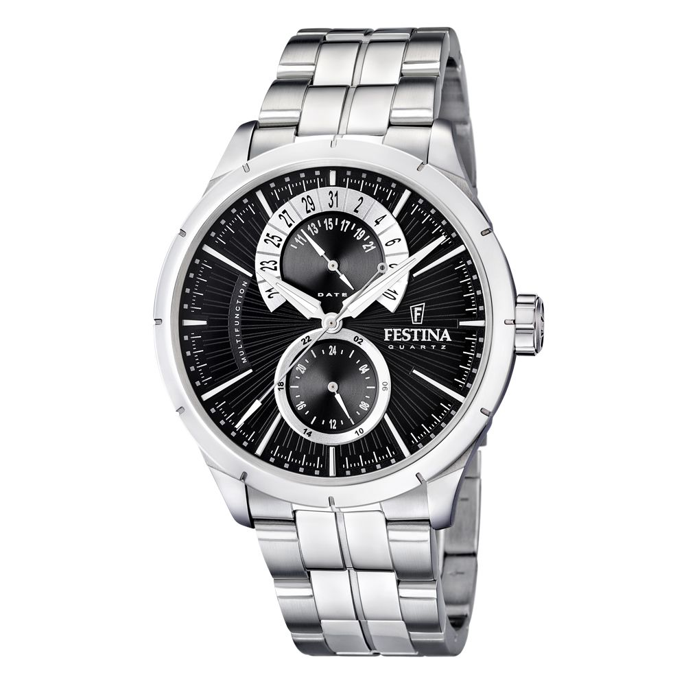 FESTINA Crongrafo mens watch multifunction stainless steel silver 45mm F16632/3