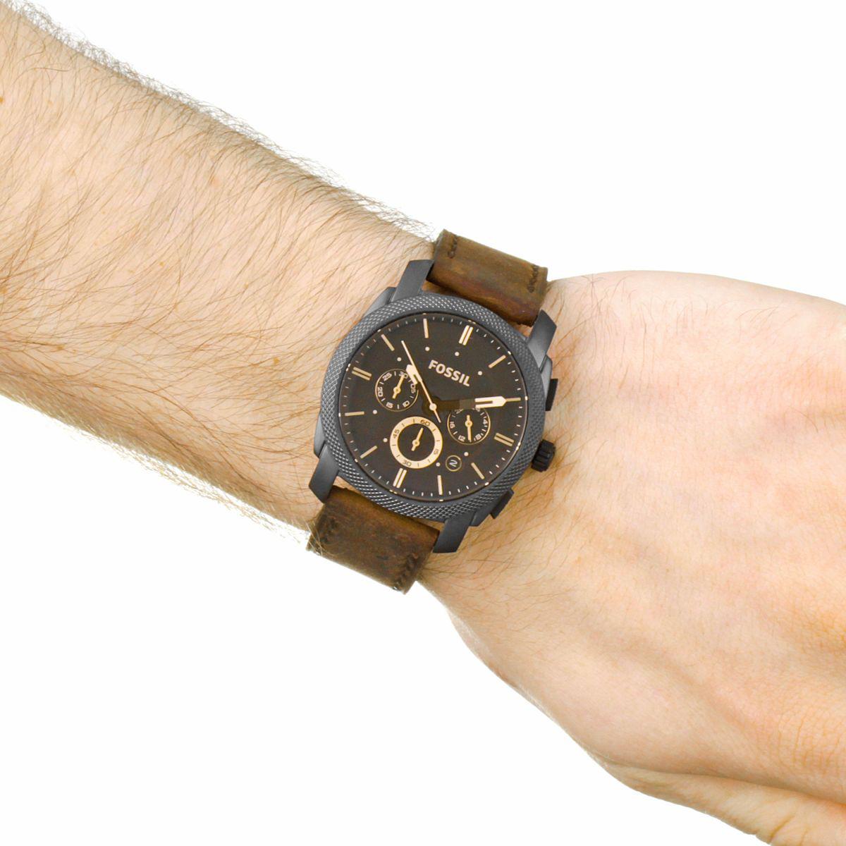 106434e51f4e ... FÓSILES hombre reloj fecha cronógrafo de cuero marrón de la MÁQUINA  42mm FS4656 ...
