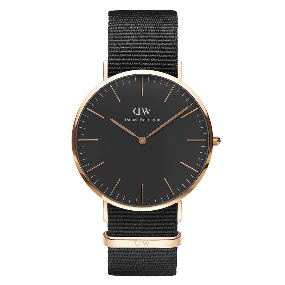 Daniel wellington watch 40mm unisex classic black cornwall rose DW00100148