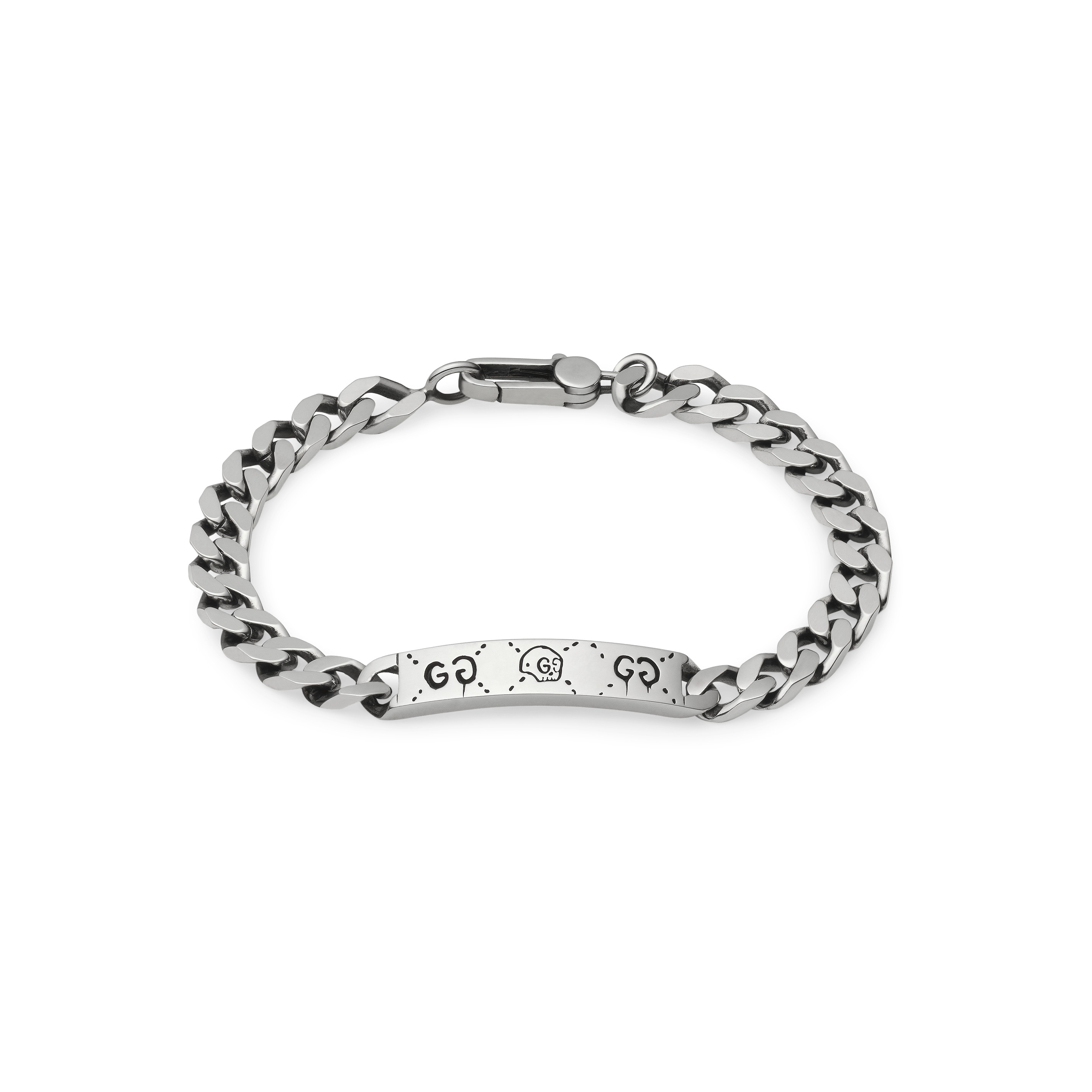 Bracelet gucci silver with chain Trouble Andrew 18cm plate YBA455321001