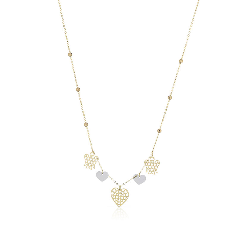 Roberto Giannotti necklace with charm angels/hearts yellow gold 375/000 NKT224