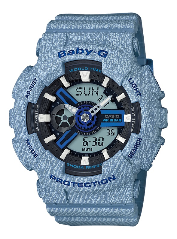 Casio baby-g denim chrono led, shockproof, alarm BA-110DE-2A2ER