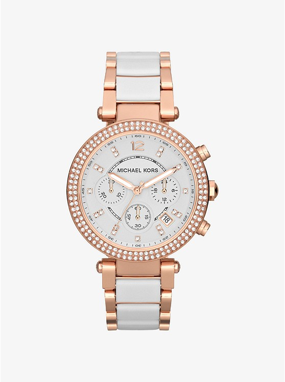 Michael kors woman watch stainless steel white resin roses' MK5774