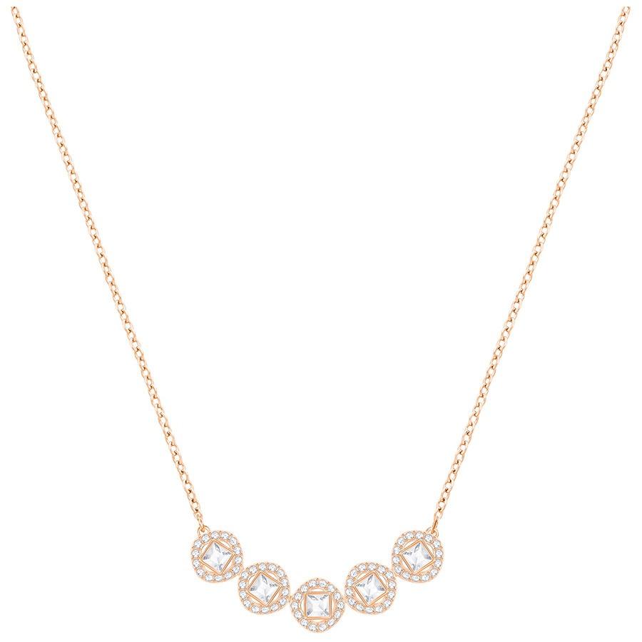 Swarovski Collana Angelic Square, bianco, placcato gold pink 5351305