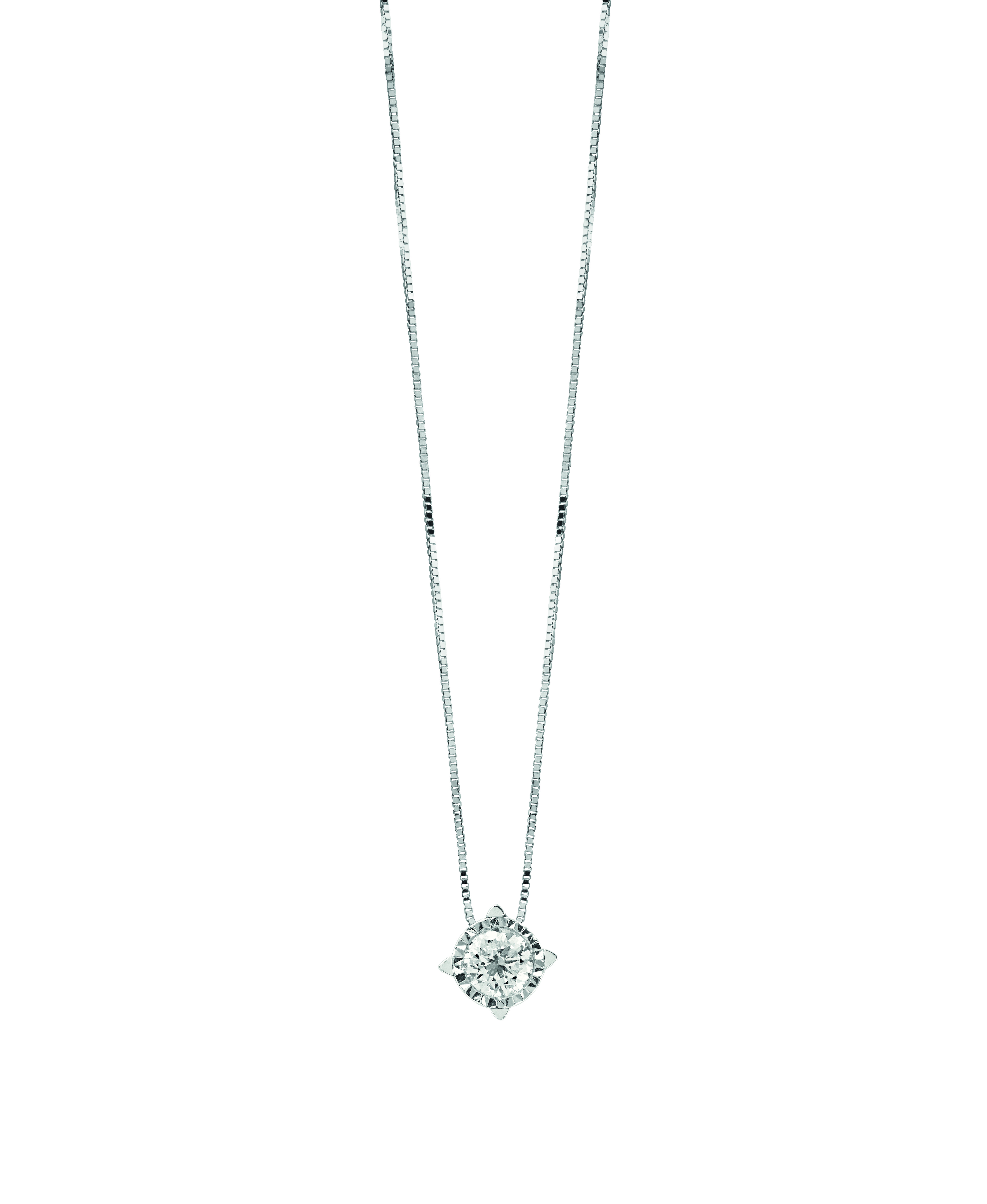 Bliss necklace Collier Point Light in White Gold 18kt and Diamonds 0,12 ct 20075347