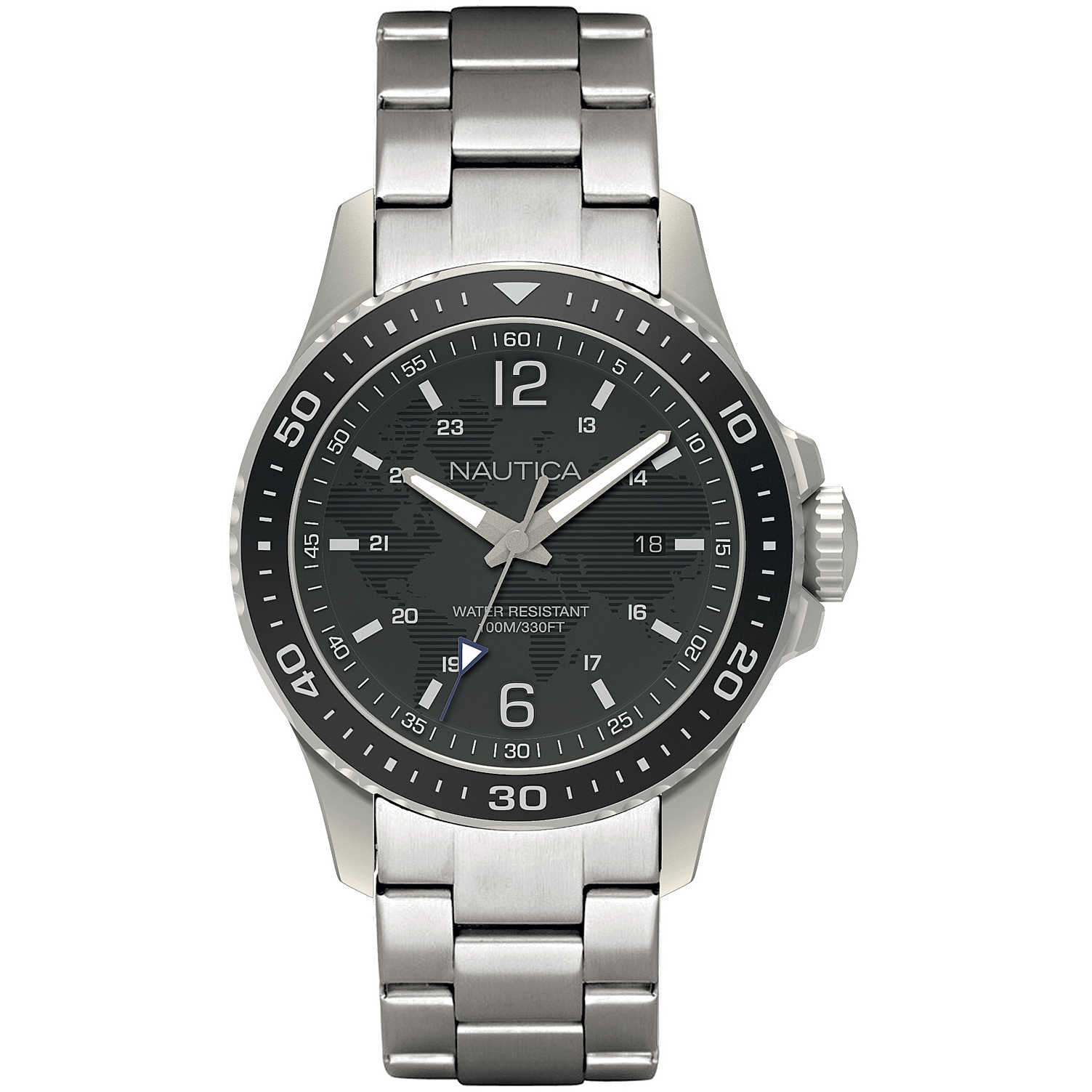 Nautica steel watch black dial 44 mm NAPFRB007