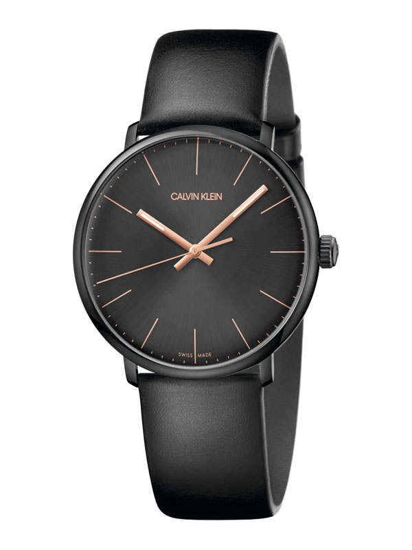 Calvin Klein man watch high noon cint leather steel case black K8M214CB