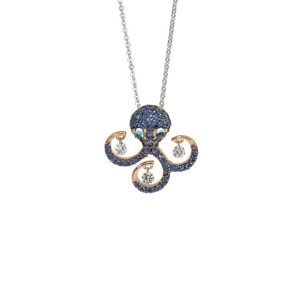 pontevecchio Leaning Vega, the small octopus gold diamonds sapphires topaz CP631ZAR