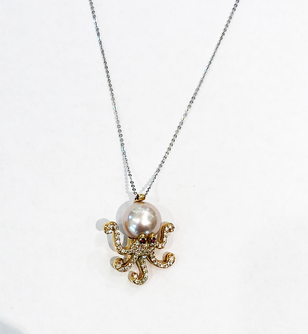 Pontevecchio necklace octopus pearl rubies diamonds CP505BRR