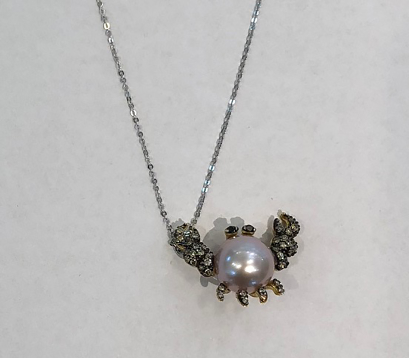 Pontevecchio necklace crab brown diamonds and black pearl CP512BBY