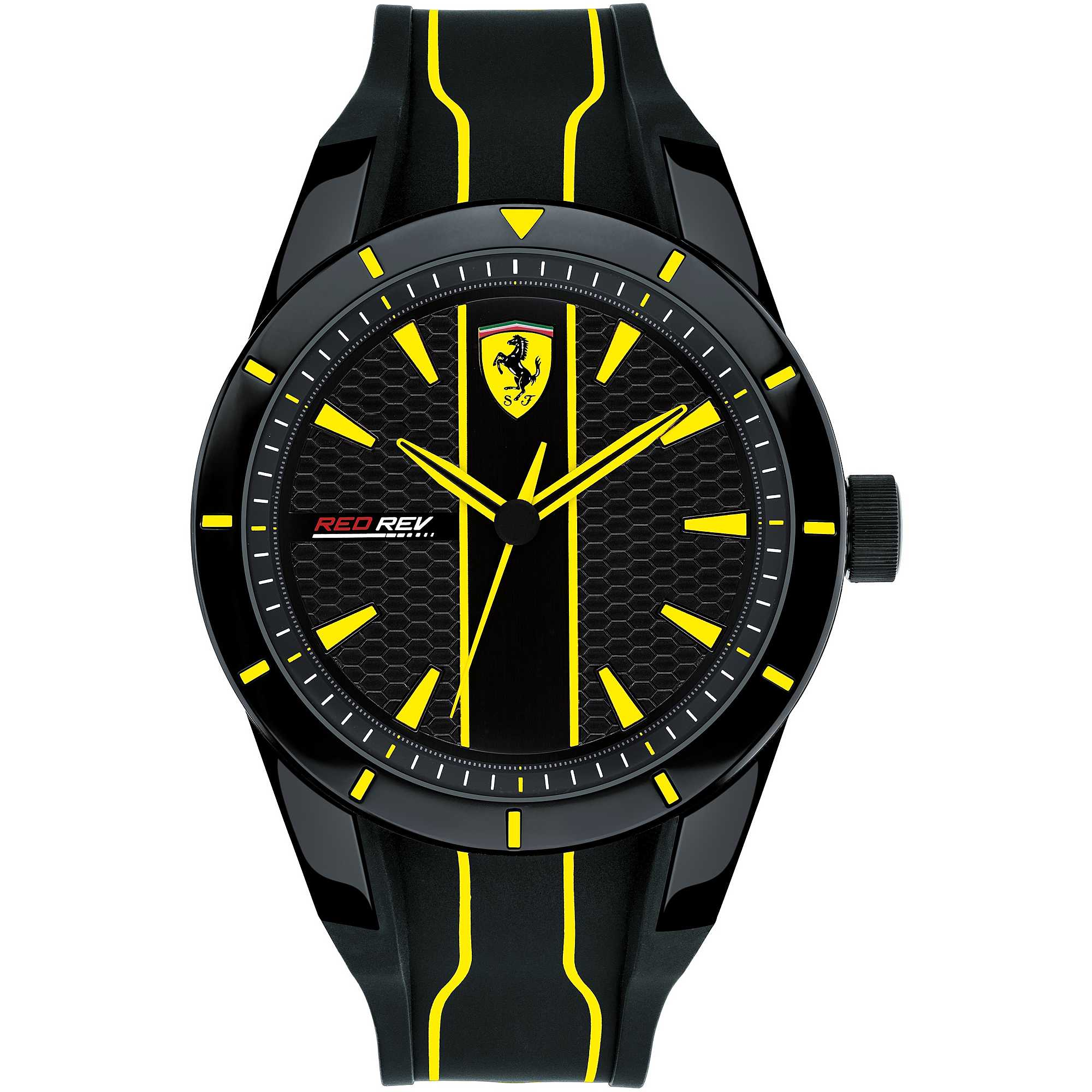 Ferrari watch RedRev black yellow silicone plastic FER0830482