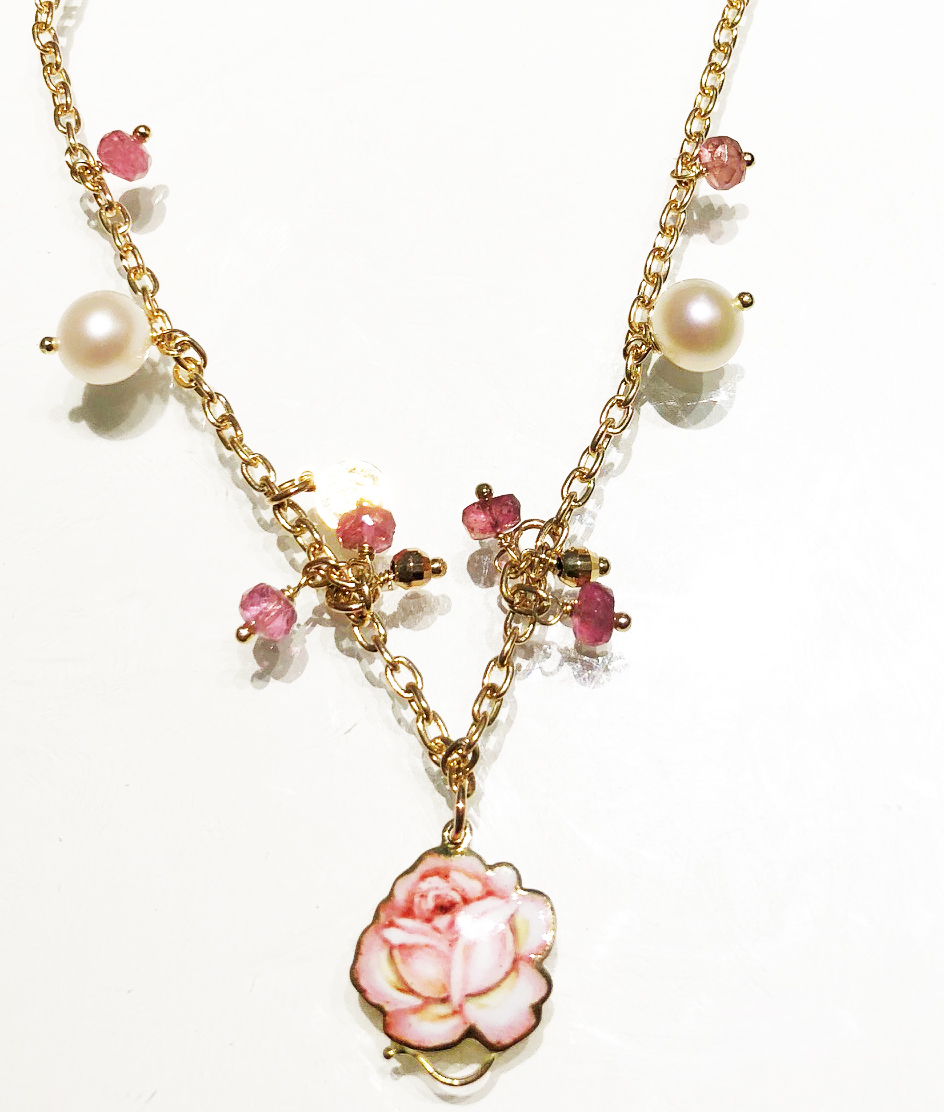 Gabriella Rivalta necklace 18kt gold pearl pink stone pendant enameled 331GRSA1