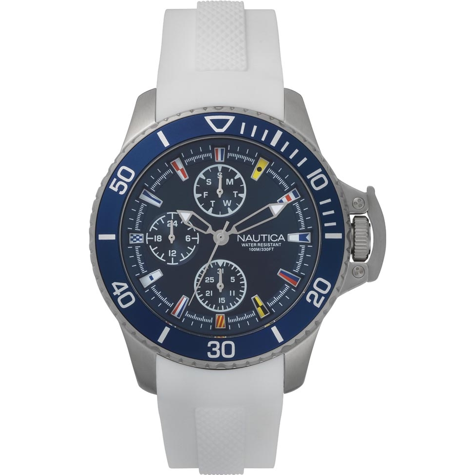 Nautica mens watch stainless steel quad blue cint silicone white Bayside NAPBYS003