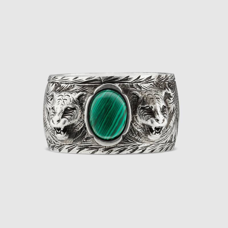 Ring Gucci Garden in antique silver measures 25 resin green YBC461991001