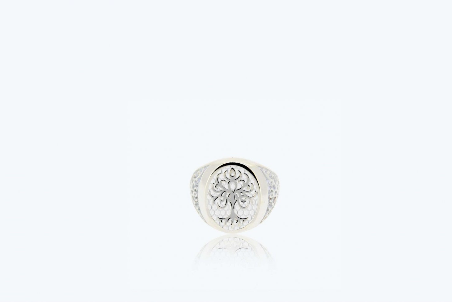 Ring from the little finger on the Tree of Life, white 925 Silver 1A-ADV-B