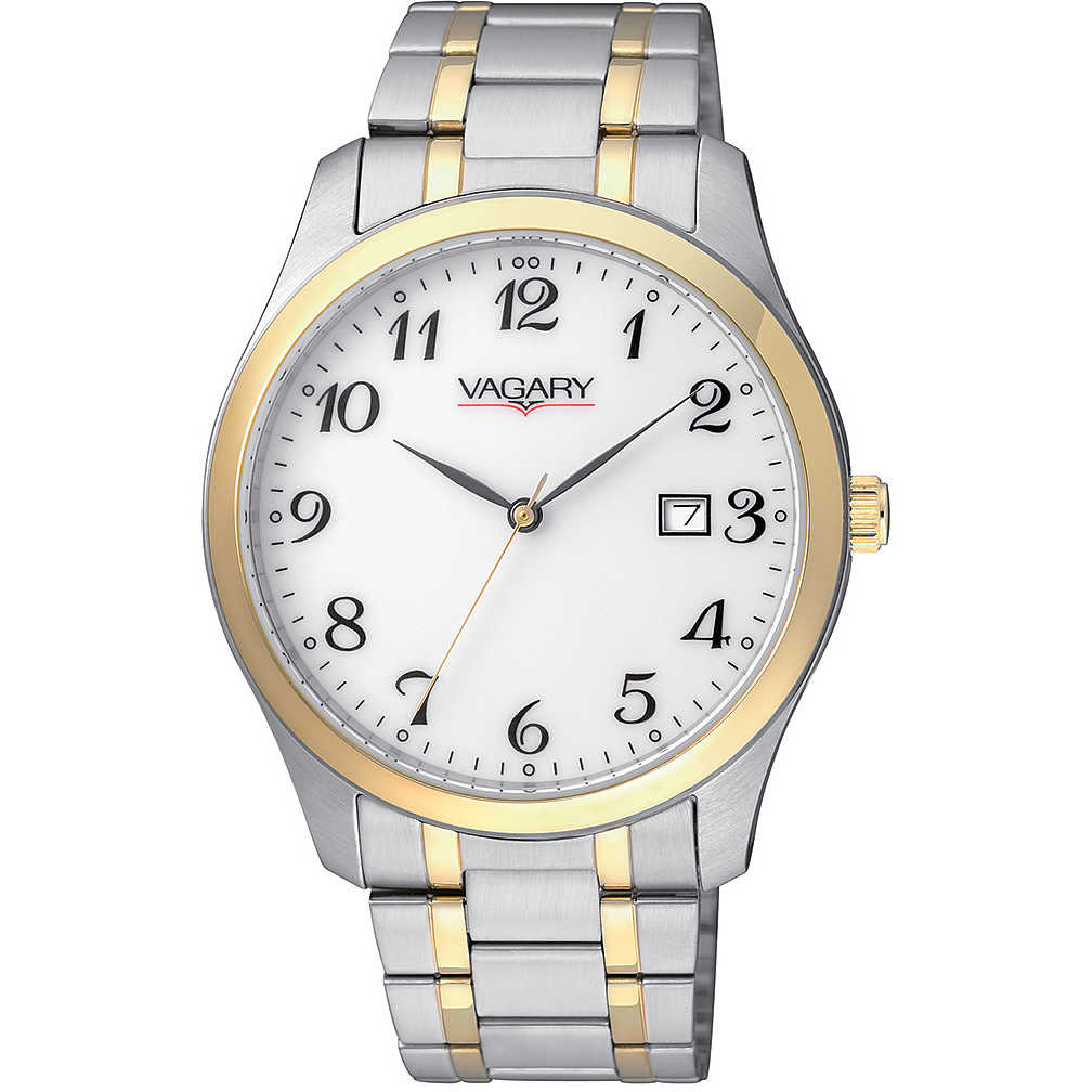 vagary mens watch steel two-tone date display white dial IH5-031-11