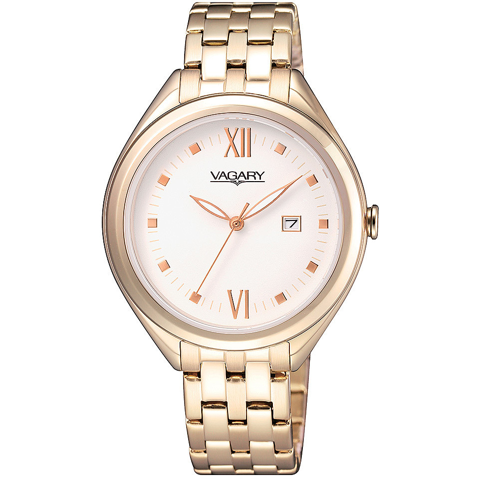 Vagary watch stainless steel ladies pink dial white date IU1-697-11