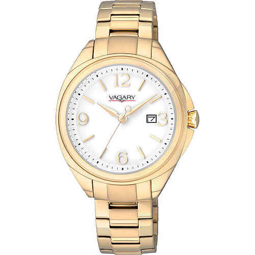 Vagary watch, women's stainless steel ip gold white dial date display VE0-329-21