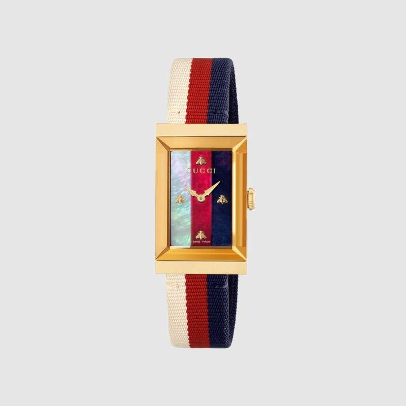 Caricamento dell immagine in corso Gucci-orologio-donna-g -frame-cinturino-tessuto-YA147405 2b4ea2326907