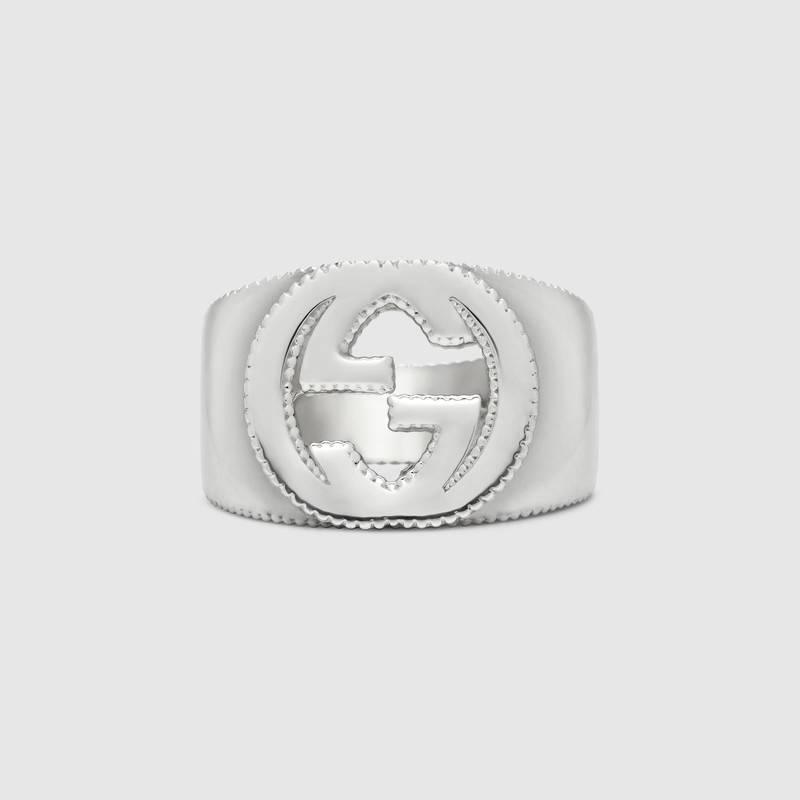 huge selection of e55d7 a9a0b Dettagli su Gucci Anello con dettaglio GG in argento misura 14 YBC479229001