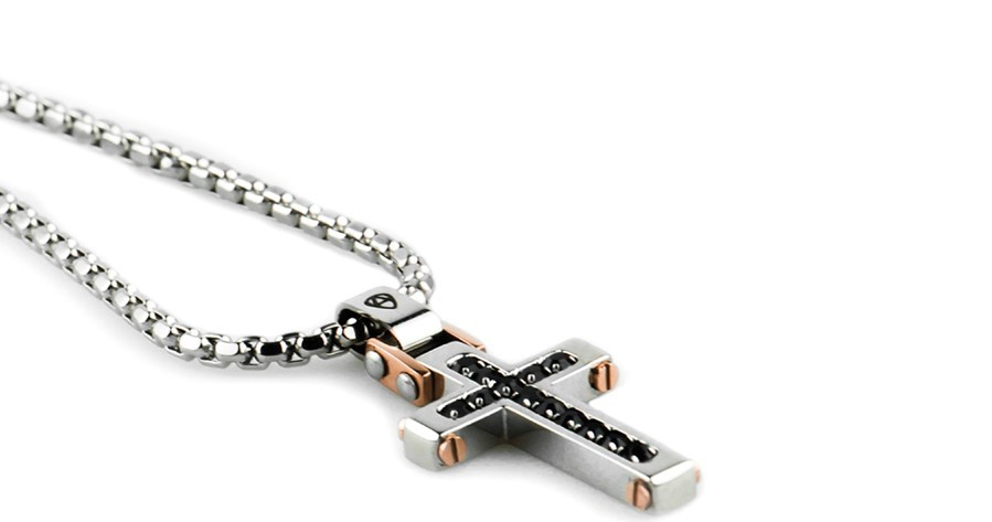 Necklace Aragonese Binary Cross Steel Silver Stone CR0101