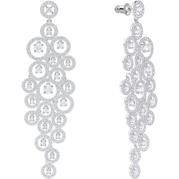 Swarovski chandelier Earrings Creativity, white, rhodium plating 5408280