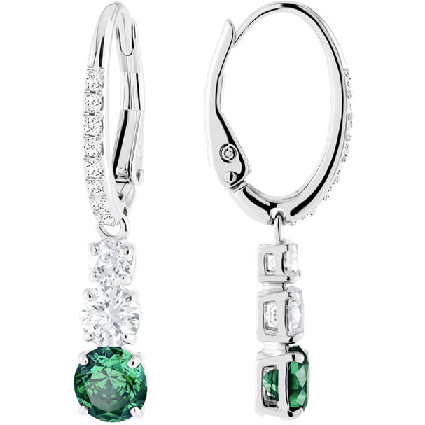 Swarovski Earrings Attract Trilogy Round, green, rhodium plating 5414682