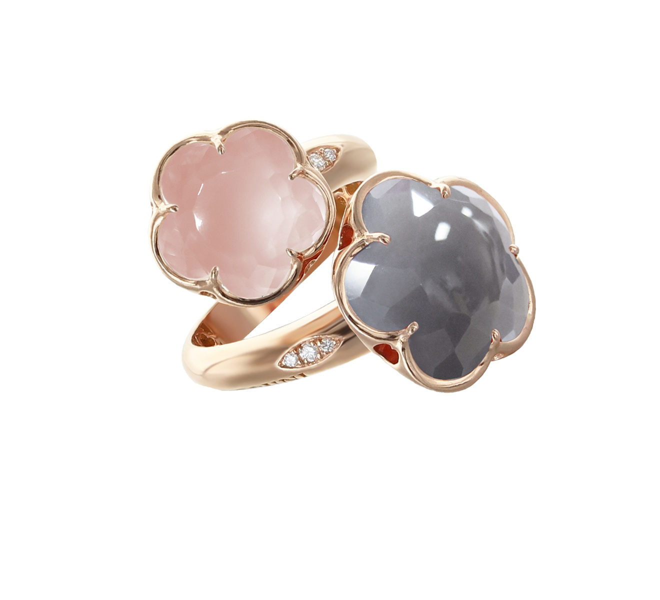 Pasquale Bruni gold ring pink rose quartz grey agate and diamonds 15089r