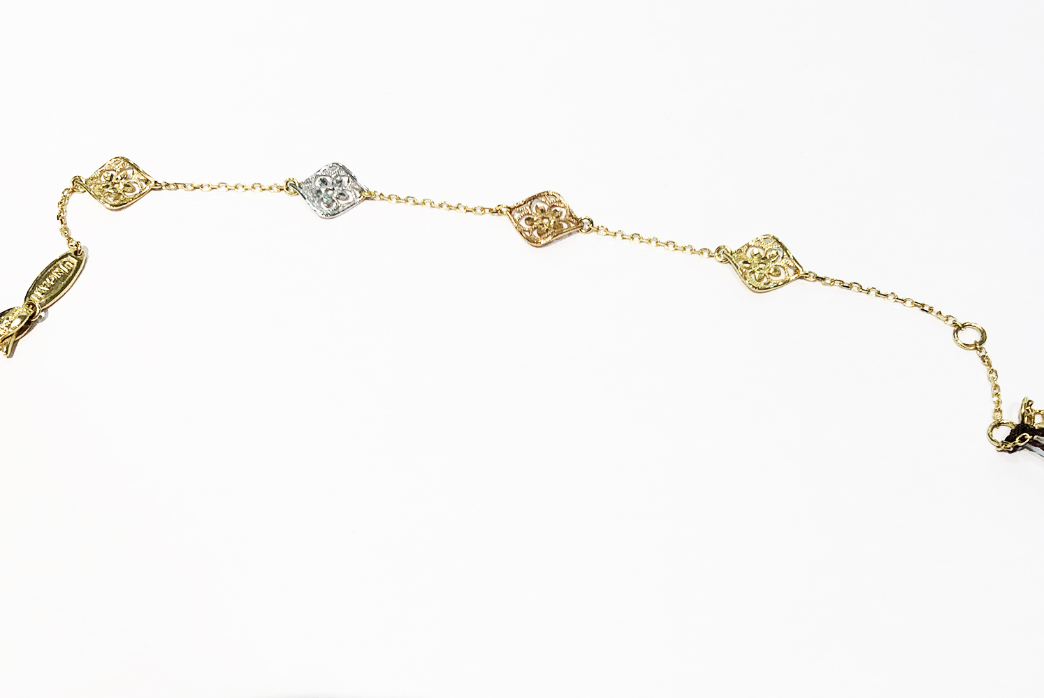 Lorenzo Ungari BRACELET YELLOW GOLD WITH SWAPS, PINK AND WHITE BR FF 0044