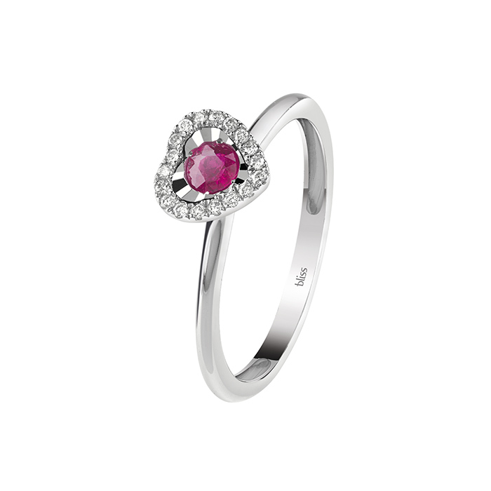 Bliss ring women's size 13 heart with diamonds and ruby 20082476