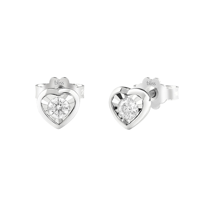 Bliss earrings women's heart white gold diamond 20082475