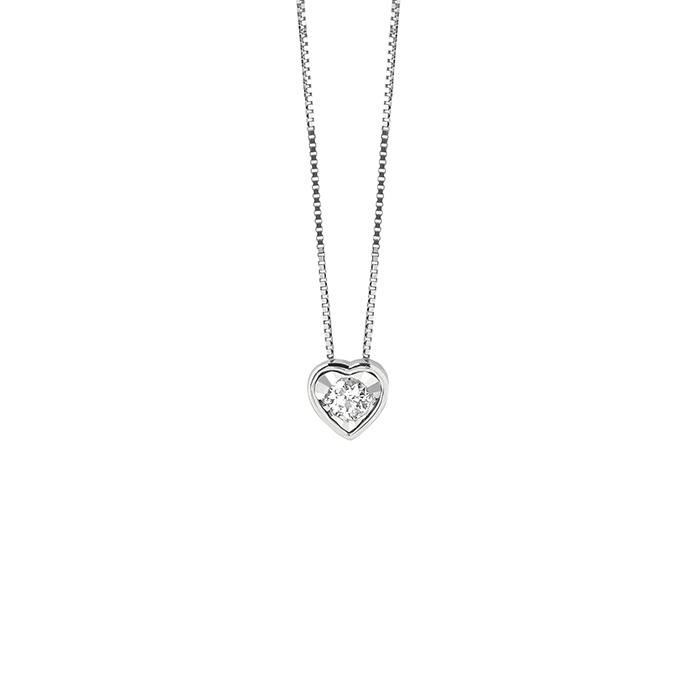 Bliss necklace white gold heart with diamonds 20082474