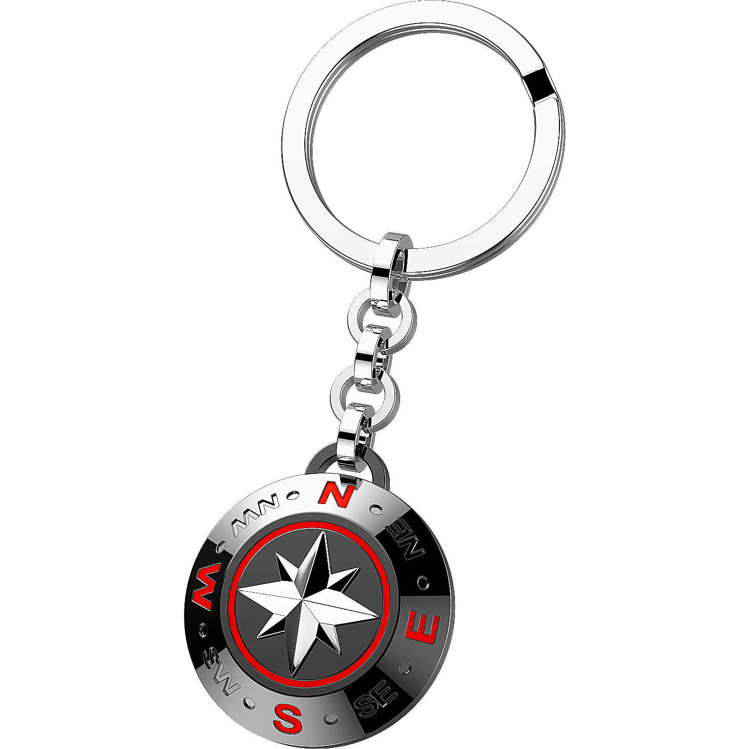 Zancan Keyring steel, black, and red with the rose of the winds EHP046