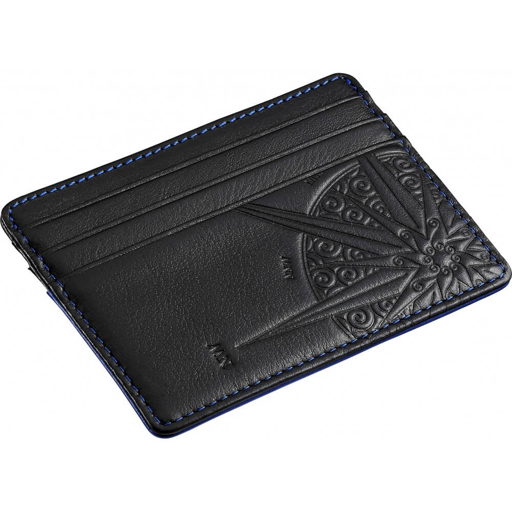 Zancan credit card holder leather color black, stitching blue HPL031