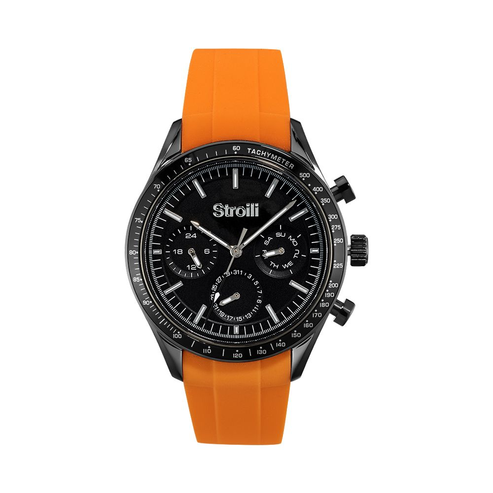 Stroili multifunction Watch steel case strap orange silicone 1661101