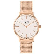 Henry london clock mesh milano rose gold steel 34 mm HL34-M-0376